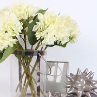 "G Home Collection Luxury Silk Hydrangea Stem in White 18"" Tall"