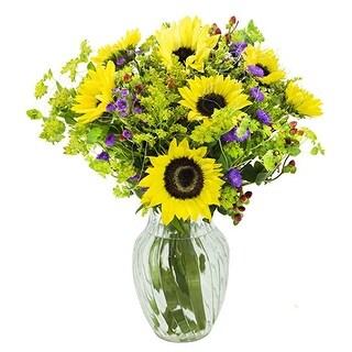 KaBloom Summer Sunset Sunflower Bouquet with Vase