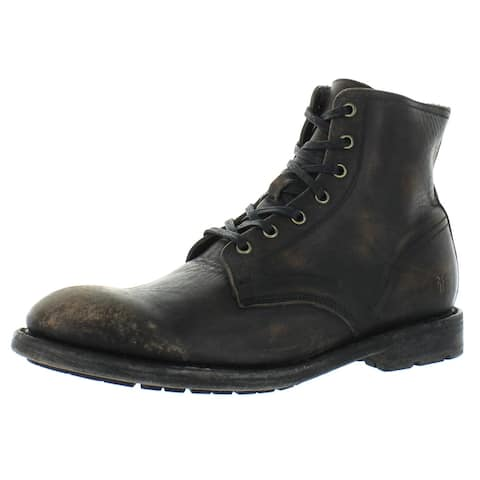 Frye Mens Bowery Ankle Boots Leather Lace Up - Black
