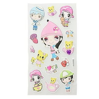 Phone Notebook Cartoon Boy Girl Animals Shape 3D Foam Stickers 1 Sheet