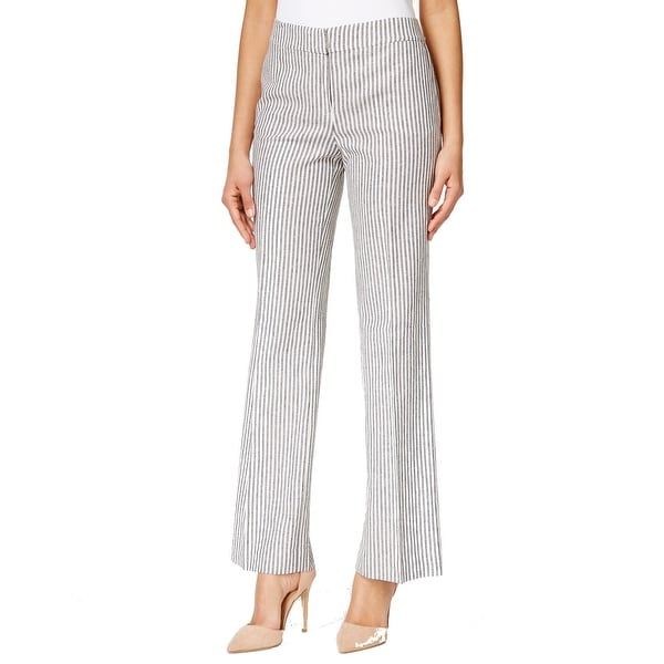 Nine West NEW Blue White Women's Size 14X32 Linen Seamed Striped Pants