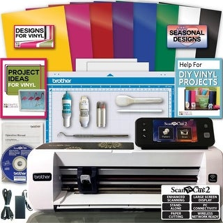 Brother ScanNCut 2 Die Cutting Machine Rainbow Vinyl Transfer Paper Hook Designs