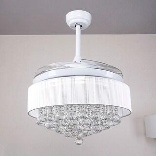Modern Crystal Fandelier Restracable 4-Blades LED Ceiling Fan