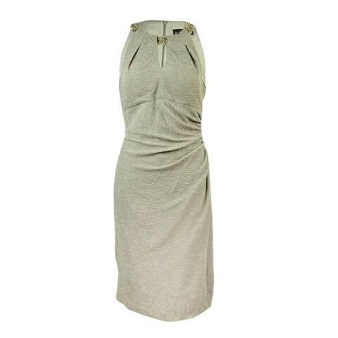 Betsy & Adam Women's Beaded Keyhole Glittered Sheath Dress