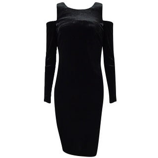 Calvin Klein Women's Velvet Cold-Shoulder Sheath Dress - Black