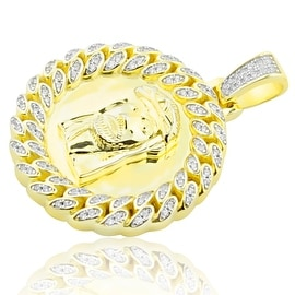 Jesus Face Charm Yellow-Gold Tone Silver With CZ Bazel 30mm Tall