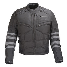 Men Black Motorcycle Textile Armored Jacket with Removable Sleeves MBJ066