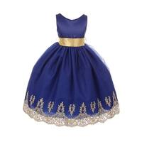 Chic Baby Little Girls Royal Blue Gold Lace Embroidered Flower Girl Dress