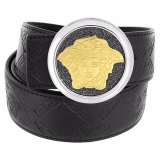 Medusa Face Buckle Belt Set Free Black Leather Belt Silver Tone 37mm
