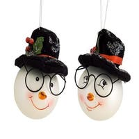 """Pack of 6 Black and White Snowman Head with Hat Hanging Christmas Ornament 6"""""""