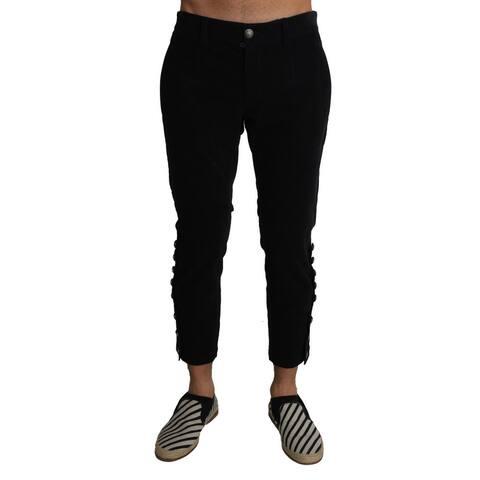 Dolce & Gabbana Black Wool Cropped Corduroys Trousers Men's Pants - w34