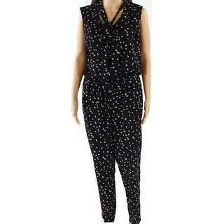 Vince Camuto NEW Black Womens Size Medium M Abstract Print Jumpsuit