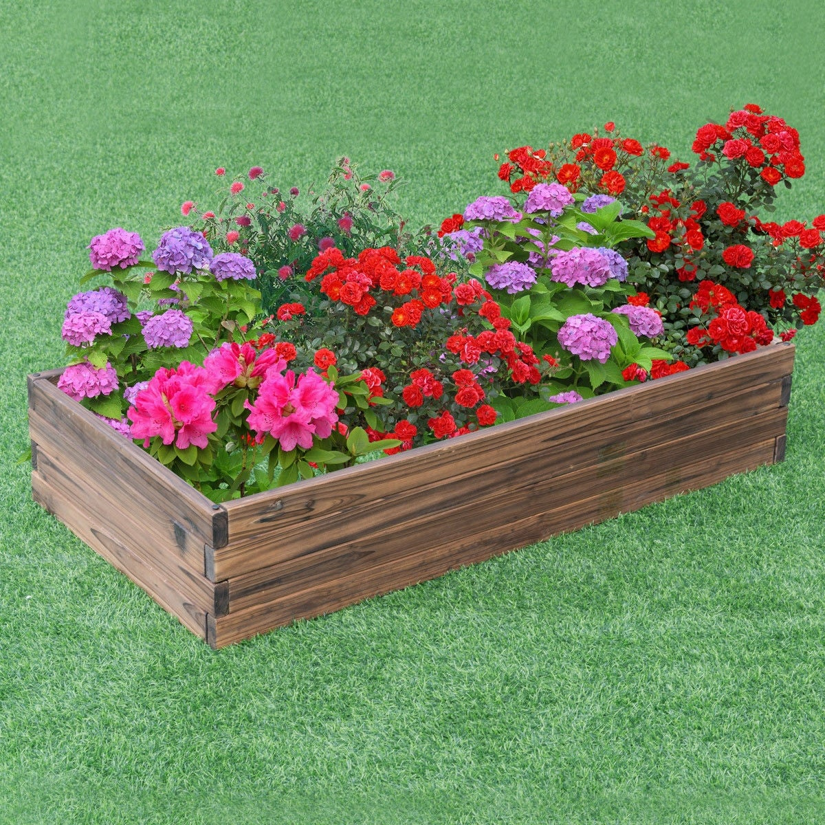 Shop Gymax Wooden Raised Garden Bed Kit Elevated Planter Box For