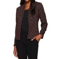 Kasper Black Pink Womens Size 4 Jacquard Chevron Open Front Jacket