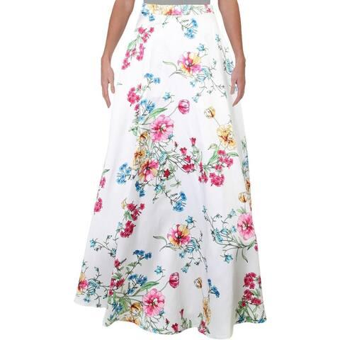 City Studio Womens Juniors A-Line Skirt Floral Long - Ivory Mutli