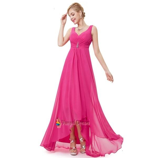 a147269983be9 Shop Hot Pink High Low Prom Dress, Hot Pink Chiffon Bridesmaid ...