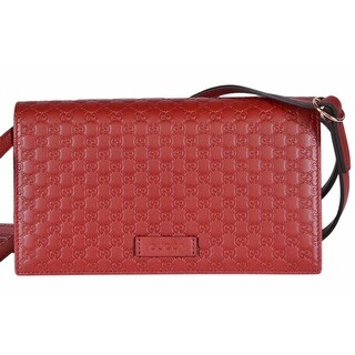 "Gucci 466507 Red Leather Micro GG Guccissima Crossbody Wallet Bag Purse - 8"" x 4.5"" x 1.5"""