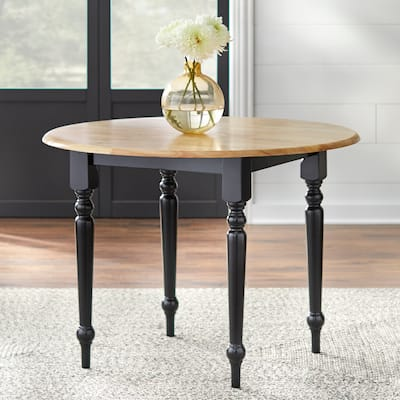 Simple Living Two-tone 40-inch Rubberwood Round Drop-leaf Table