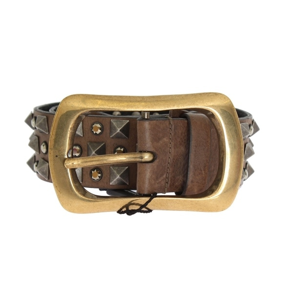 Dolce & Gabbana Dolce & Gabbana Brown Leather Gold Buckle Studded Belt - 95-cm-38-inches