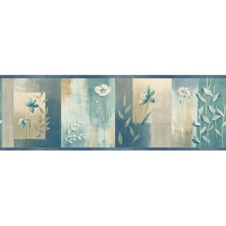 Brewster MEA24625B Bonnard Turquoise Colorblock Floral Border Wallpaper