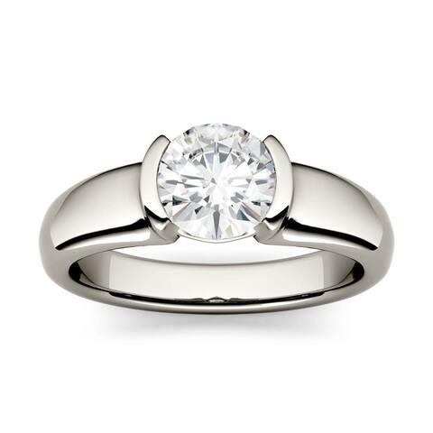 14k White Gold 1ct Moissanite Semi-Bezel Solitaire Ring