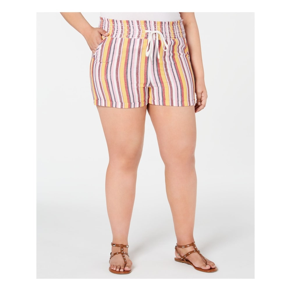 PLANET GOLD Womens Pink Striped Shorts Size 2X