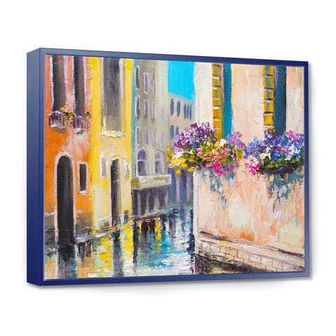 Designart 'Canal in Venice with Flowers' Cityscape Framed Canvas Art Print
