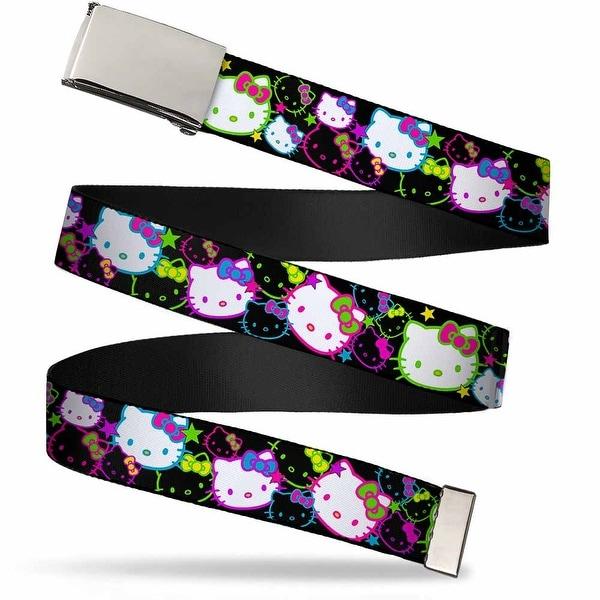 Blank Chrome Bo Buckle Hello Kitty Face Stars Stacked Close Up Black Web Belt