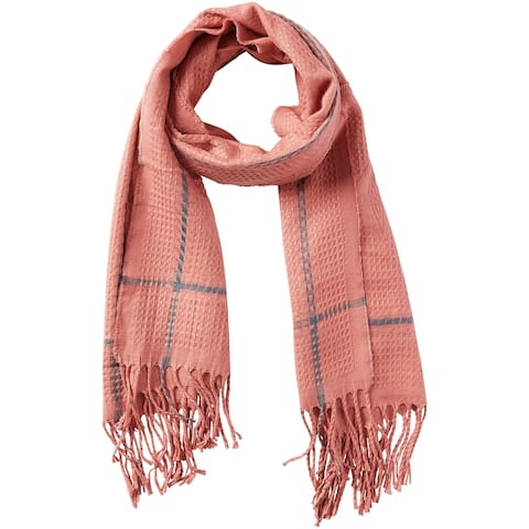 5.75' Pink and Gray Stylish and Fashionable Tickled Pink Knox Fringe Scarf