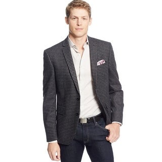 Bar III Slim Fit Charcoal and Black Gingham Check Sportcoat Blazer