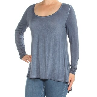 Womens Blue Long Sleeve Scoop Neck Casual Top Size M