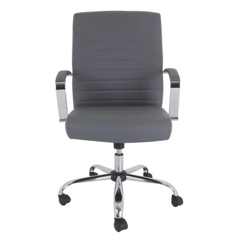 """DRAKE Bonded Leather Executive Chair in Gray - 28.35""""L x 26""""W x 42.1""""H"""