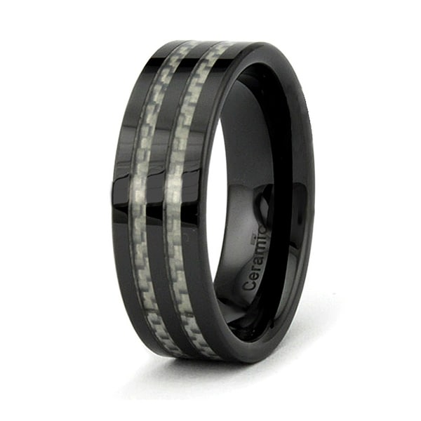 8mm Flat Black Ceramic Ring with White Carbon Fiber Inlay (Sizes 9-12)
