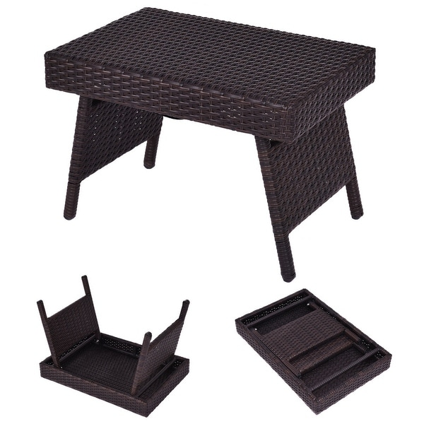 Costway Mix Brown Folding Rattan Side Coffee Table Patio