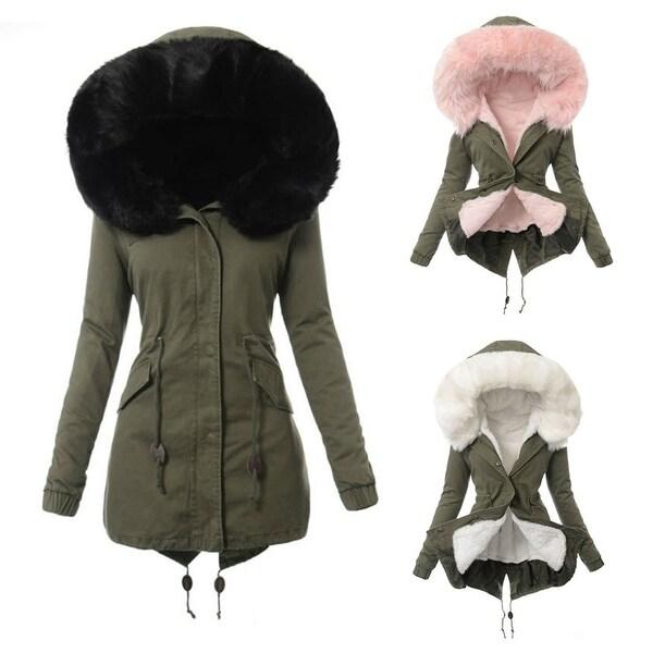 Shop Women Winter Warm Faux Fur Hooded Long Sleeve Coat Slim