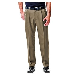 Haggar Performance Comfort Pleated Front Dress Pants Taupe Brown 36 x 34