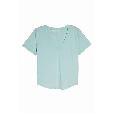 Zella Blue Womens Size Medium M V-Neck Curved Hem Stretch Top