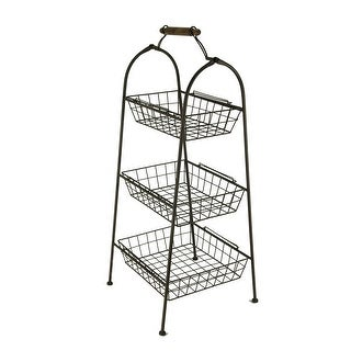 Rust Brown Metal Wire 3-Tier Basket Stand - 35 X 15 X 15 inches