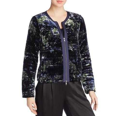 Eileen Fisher Womens Puffer Coat Winter Velvet - Midnight