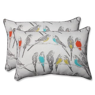 Set of 2 Blue and Coral Retweet Vermeil Outdoor Corded Throw Pillows 24.5""