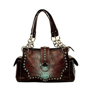 "Blazin Roxx Western Handbag Womens Carmel Satchel Croco Tan N7596808 - 8 1/2"" x 13"" x 4 1/2"""