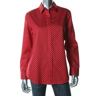 Jones New York Womens Button-Down Top Cotton Polka Dot