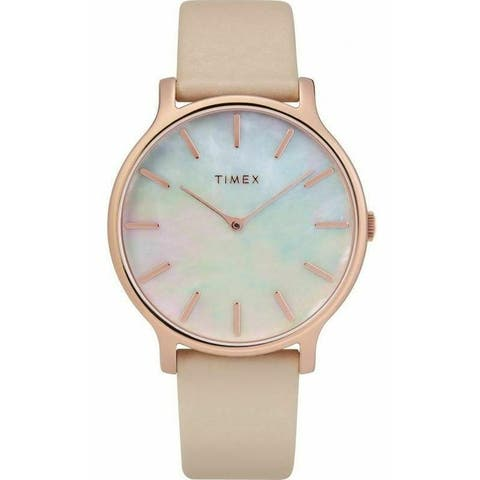 Timex Women's TW2T35300VQ 'Metropolitan Transcend' Pink Leather Watch - Silver