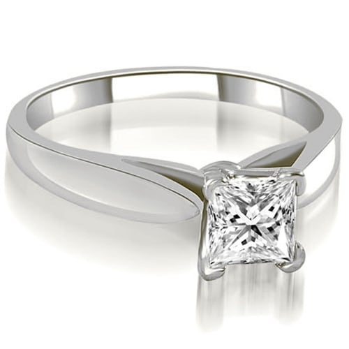 0.50 cttw. 14K White Gold Cathedral V-Prong Solitaire Diamond Engagement Ring