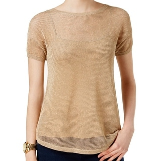Michael Kors NEW Gold Khaki Women's Size Large L Sheer Mesh Sweater
