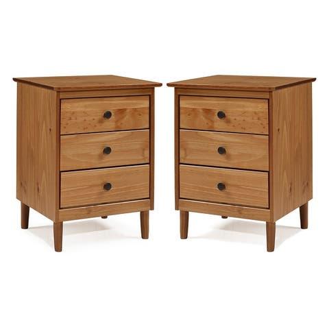 Taylor & Olive 3-Drawer Solid Wood Nightstands, Set of 2