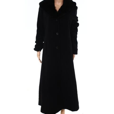 Lauren by Ralph Lauren Womens Coat Black Size 14 Faux-Fur Shawl Wool