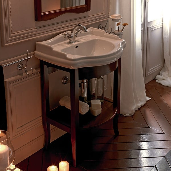 """WS Bath Collections 1046 7350 27-1/4"""" Ceramic Free Standing Bathroom Console with 1 or 3 Holes Drilled and Wood Legs"""