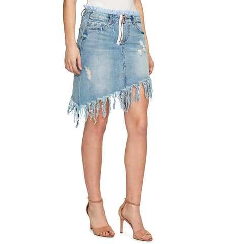 William Rast Womens Denim Skirt Asymmetrical Distressed - 30