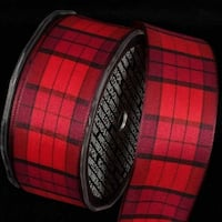 "Burgundy and Red French Check Pattern Wired Craft Ribbon 1.5"" x 27 Yards"
